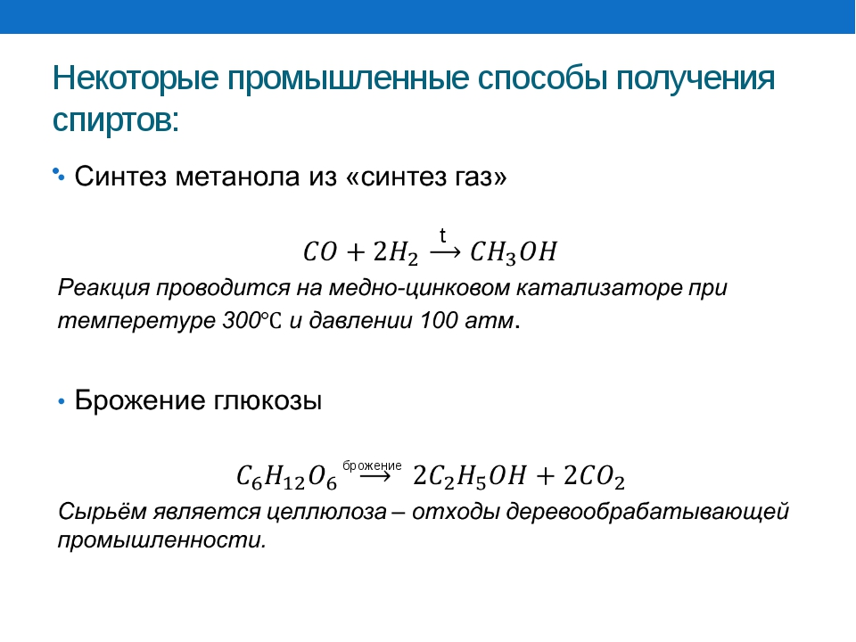 Некоторые промышленные способы получения спиртов: Синтез метанола из «синтез...
