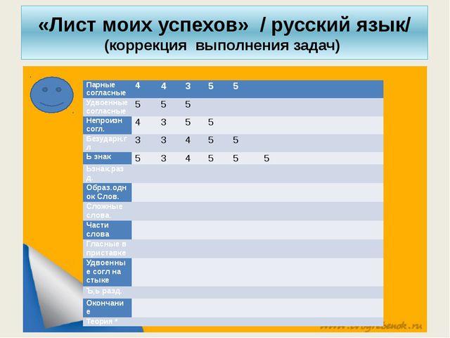 «Лист моих успехов» / русский язык/ (коррекция выполнения задач) Парные согла...