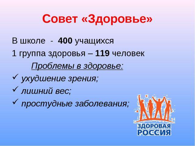 Совет «Здоровье» В школе - 400 учащихся 1 группа здоровья – 119 человек Проб...