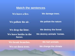 Match the sentences. 	We leave a fire.	We damage trees. We pollute the air.	W