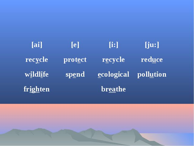 [ai]	[e]	[i:]	[ju:] recycle	protect	recycle	reduce wildlife	spend	ecological...