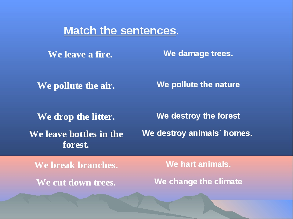 Match the sentences. 	We leave a fire.	We damage trees. We pollute the air.	W...