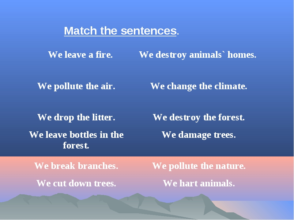 Match the sentences. 	We leave a fire.	We destroy animals` homes. We pollute...