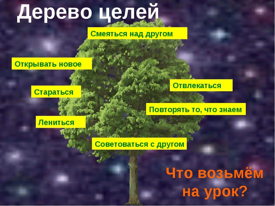 Дерево целей Что возьмём на урок? Смеяться над другом Открывать новое Старать...