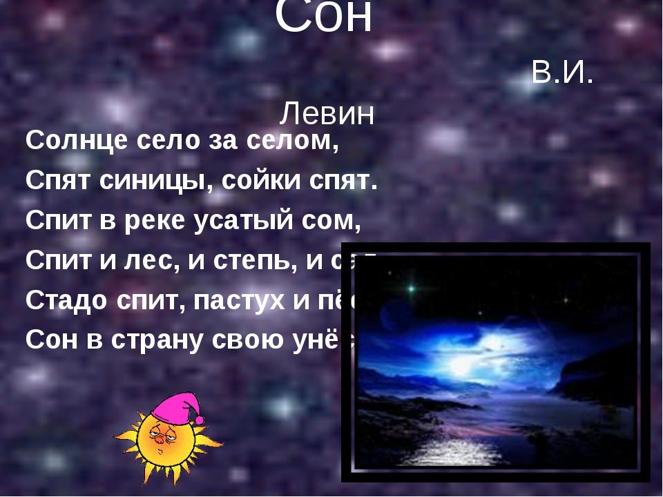 Сон В.И. Левин Солнце село за селом, Спят синицы, сойки спят. Спит в реке уса...