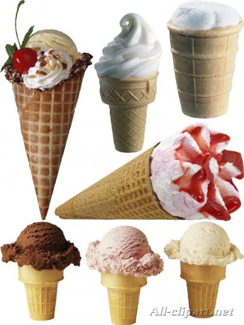 Фотосток: Мороженое - рожок и в вафельном стаканчике