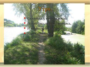 Утро. Склонилась ива над рекой, Водой прохладной умываясь, И колокольчик поле