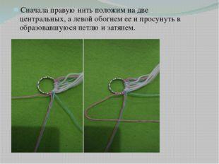 Сначала правую нить положим на две центральных, а левой обогнем ее и просуну