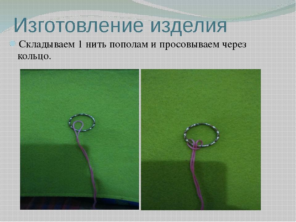 Изготовление изделия Складываем 1 нить пополам и просовываем через кольцо.