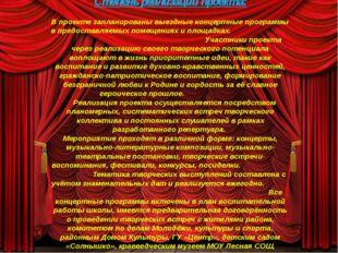 Степень реализации проекта: В проекте запланированы выездные концертные прог
