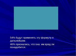 54% будут применять эту формулу в дальнейшем. 46% признались, что она им вряд