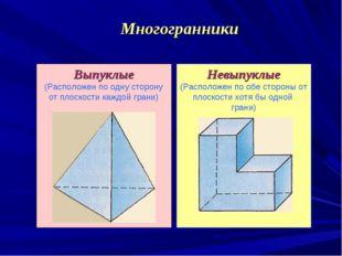 Выпуклые (Расположен по одну сторону от плоскости каждой грани) Невыпуклые (Р