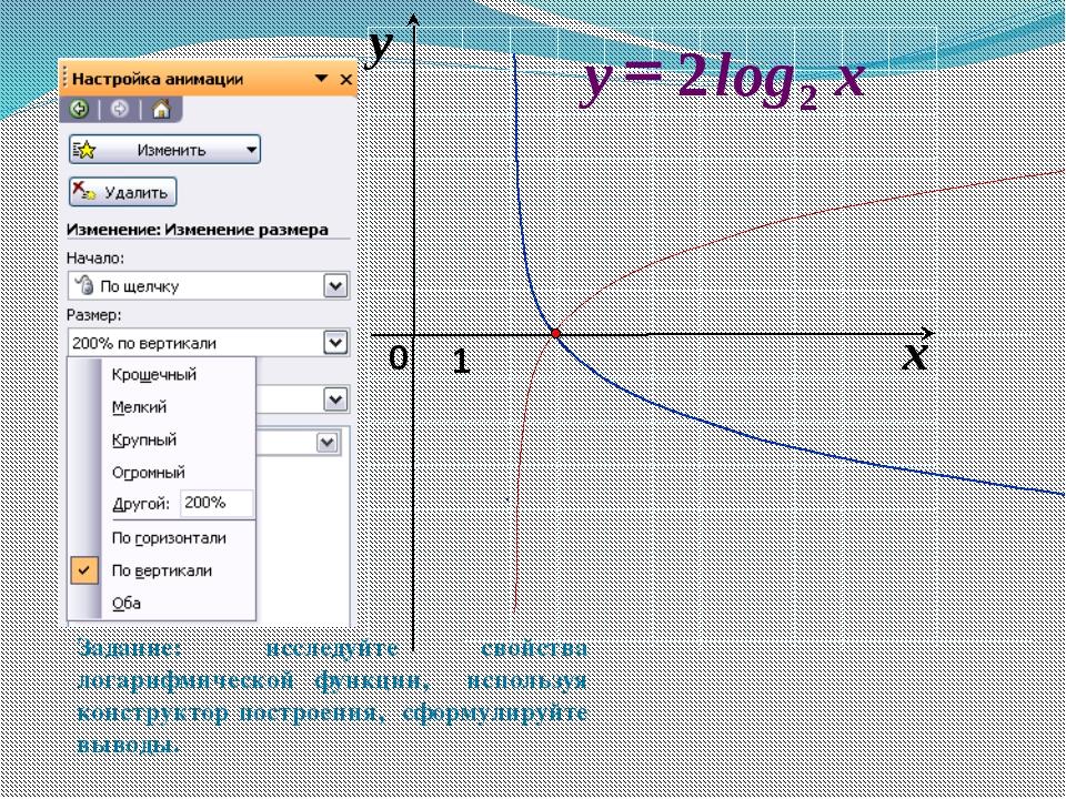Задание: исследуйте свойства логарифмической функции, используя конструктор...