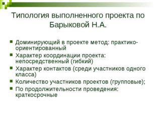 Типология выполненного проекта по Барыковой Н.А. Доминирующий в проекте метод