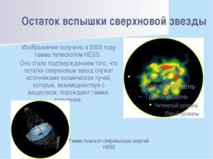 Остаток вспышки сверхновой звезды Изображение получено в 2005 году гамма-теле
