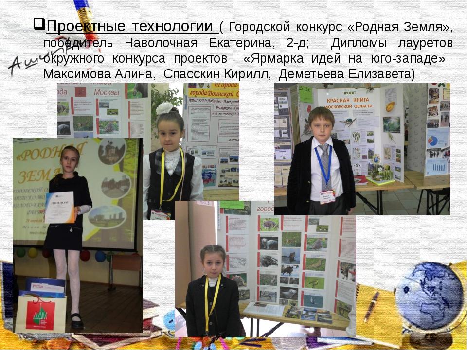 Проектные технологии ( Городской конкурс «Родная Земля», победитель Наволочн...