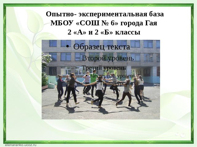 Опытно- экспериментальная база МБОУ «СОШ № 6» города Гая 2 «А» и 2 «Б» классы