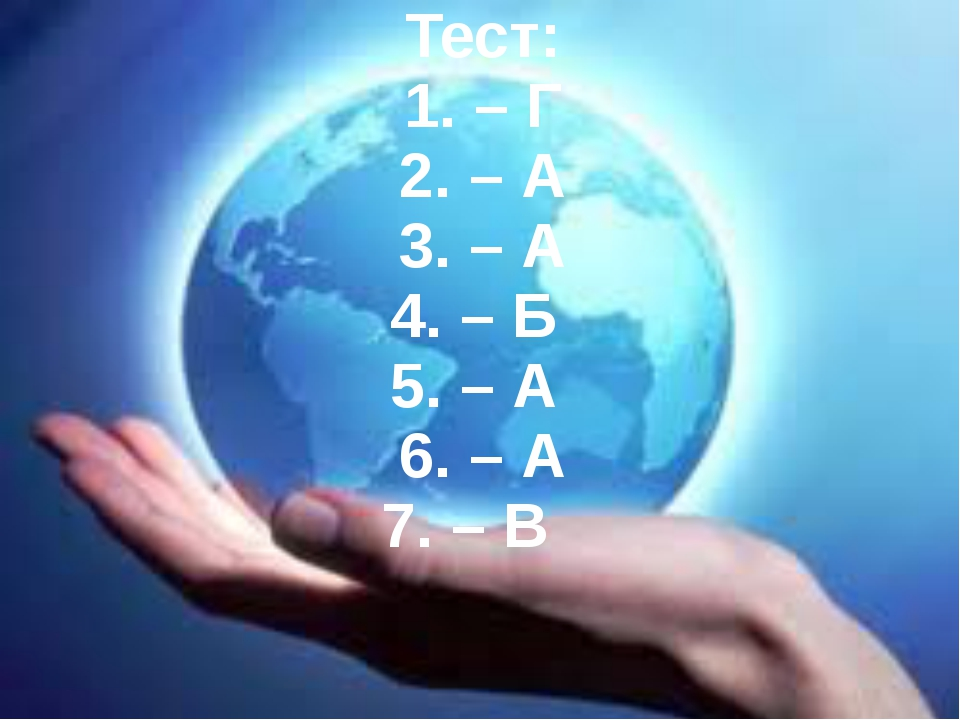 Тест: 1. – Г 2. – А 3. – А 4. – Б 5. – А 6. – А 7. – В
