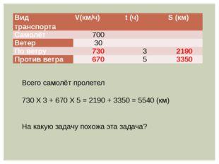 Всего самолёт пролетел 730 Х 3 + 670 Х 5 = 2190 + 3350 = 5540 (км) На какую з