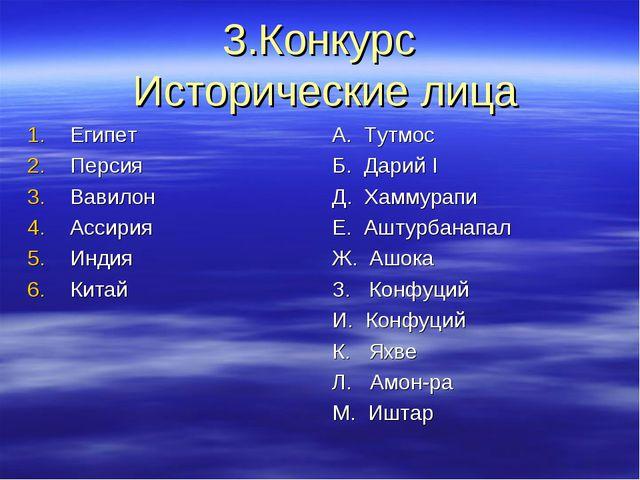 3.Конкурс Исторические лица Египет Персия Вавилон Ассирия Индия Китай А. Тутм...