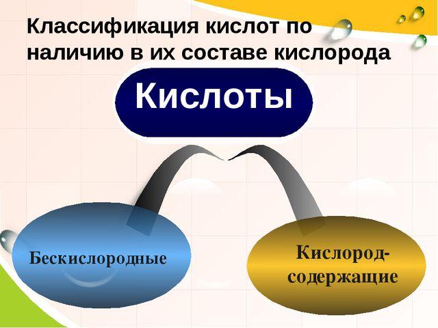 Классификация кислот по наличию в их составе кислорода Кислород- содержащие Б...
