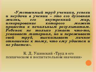 «Умственный труд ученика, успехи и неудачи в учении – это его духовная жизнь