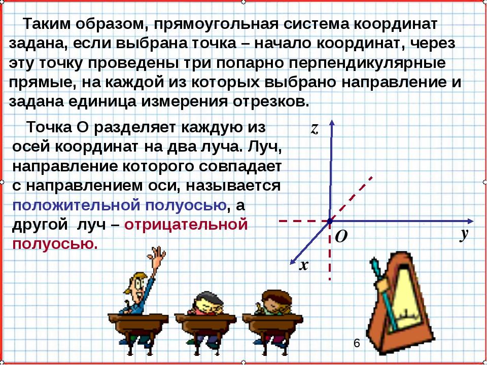 Таким образом, прямоугольная система координат задана, если выбрана точка –...