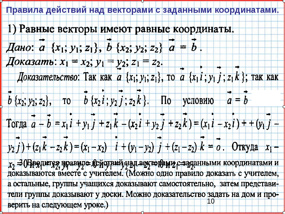 Правила действий над векторами с заданными координатами.
