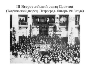 III Всероссийский съезд Советов (Таврический дворец. Петроград. Январь 1918 г