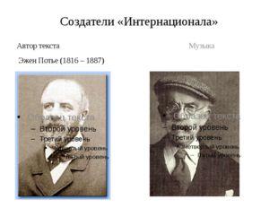 Создатели «Интернационала» Автор текста Эжен Потье (1816 – 1887) Музыка Пьера