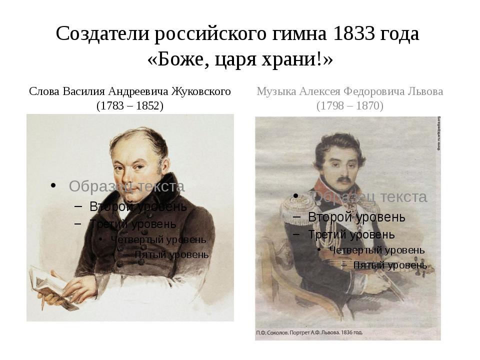 Создатели российского гимна 1833 года «Боже, царя храни!» Слова Василия Андре...