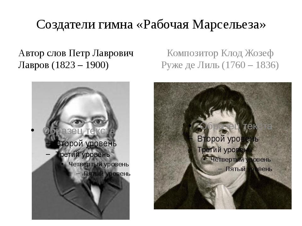 Создатели гимна «Рабочая Марсельеза» Автор слов Петр Лаврович Лавров (1823 –...