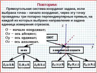Повторим: Прямоугольная система координат задана, если выбрана точка – начало