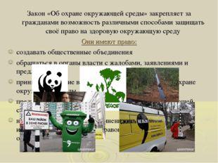 Закон «Об охране окружающей среды» закрепляет за гражданами возможность разли