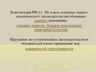 Конституция РФ (ст. 58) и весь комплекс нашего экологического законодательств