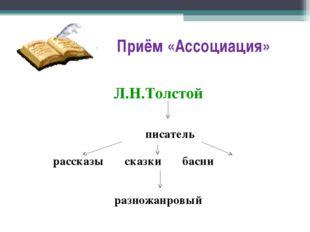 Приём «Ассоциация» Л.Н.Толстой писатель рассказы сказки басни разножанровый