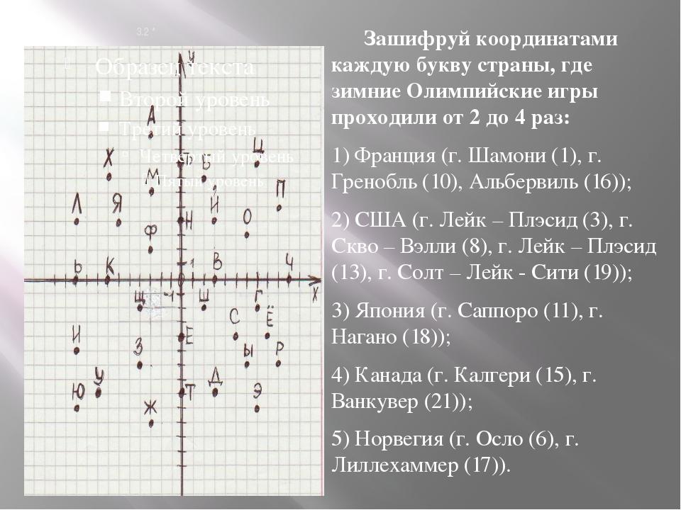 3.2 * Зашифруй координатами каждую букву страны, где зимние Олимпийские игры...