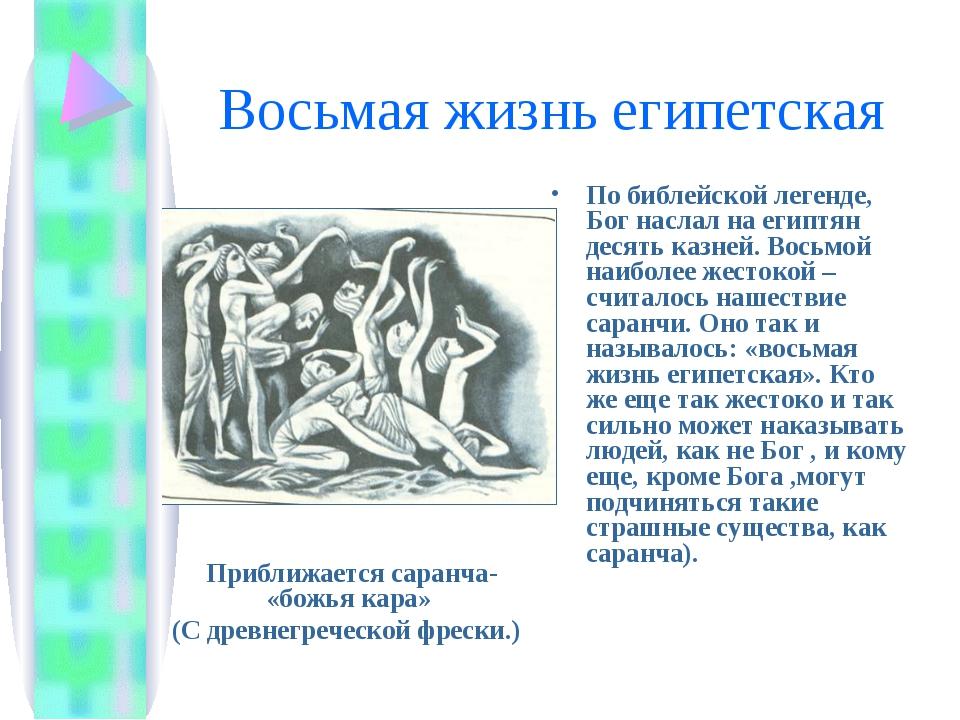 Восьмая жизнь египетская По библейской легенде, Бог наслал на египтян десять...