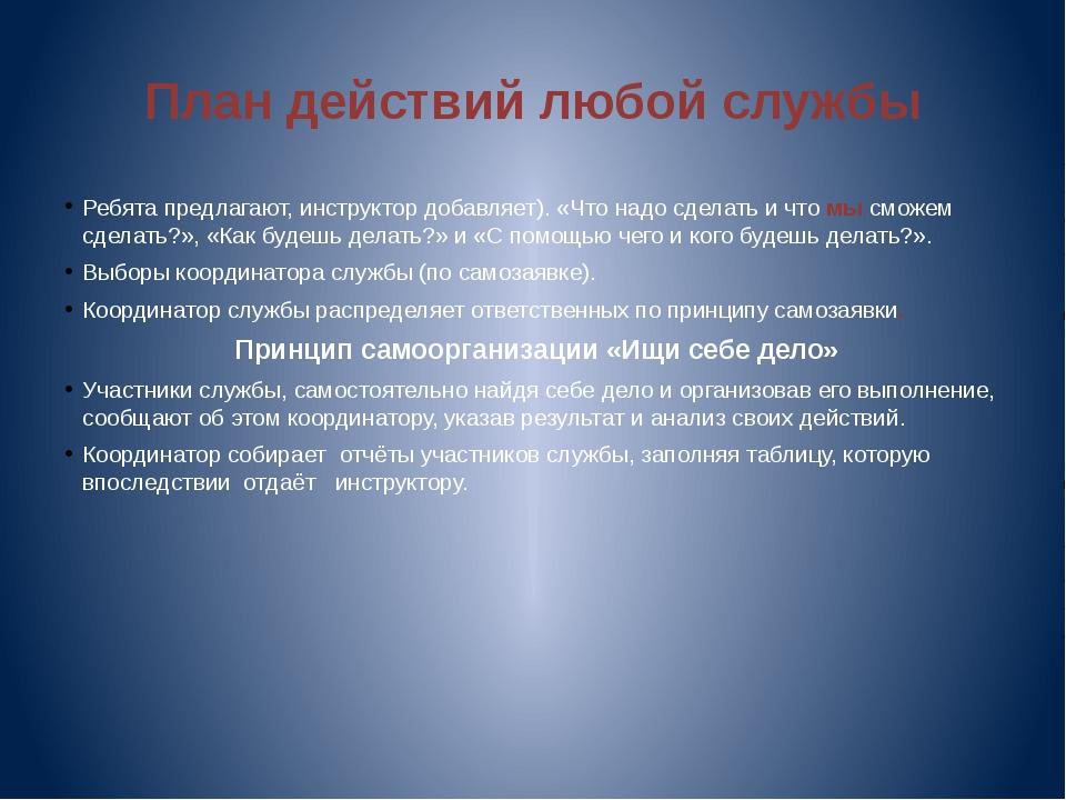 План действий любой службы Ребята предлагают, инструктор добавляет). «Что над...