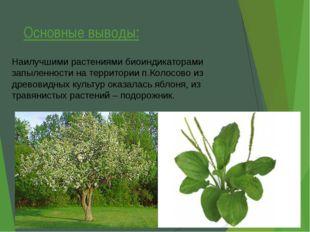 Основные выводы: Наилучшими растениями биоиндикаторами запыленности на террит