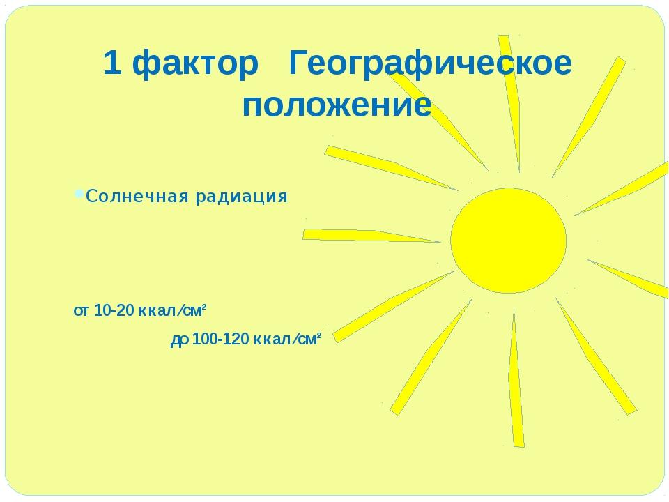 1 фактор Географическое положение Солнечная радиация от 10-20 ккал ⁄см² до 1...