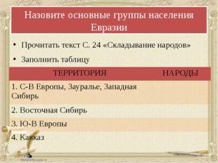 Назовите основные группы населения Евразии Прочитать текст С. 24 «Складывание
