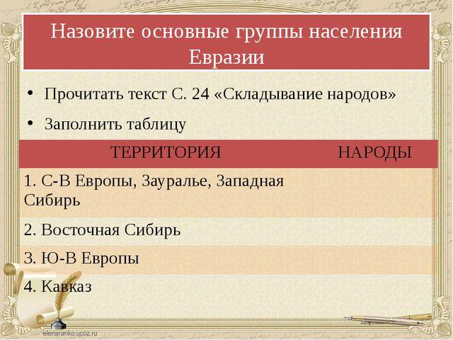 Назовите основные группы населения Евразии Прочитать текст С. 24 «Складывание...