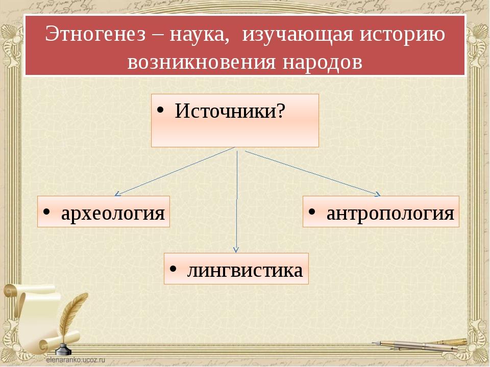 Этногенез – наука, изучающая историю возникновения народов Источники? лингвис...