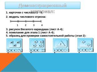1. карточки с числами 1 - 4; 2. модель числового отрезка: 1 2 3 4 3. рисунок
