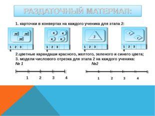 1. карточки в конвертах на каждого ученика для этапа 2: 1 2 3 4 ж ж ж к к к к