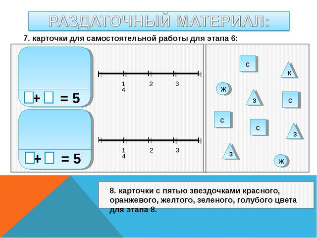 + = 5 + = 5 1 2 3 4 1 2 3 4 к с с с с ж з з з ж 7. карточки для самостоятель...