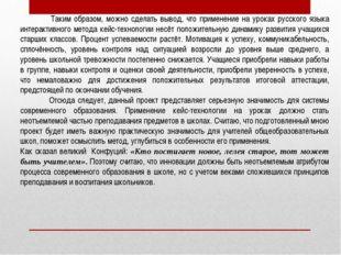 Таким образом, можно сделать вывод, что применение на уроках русского языка