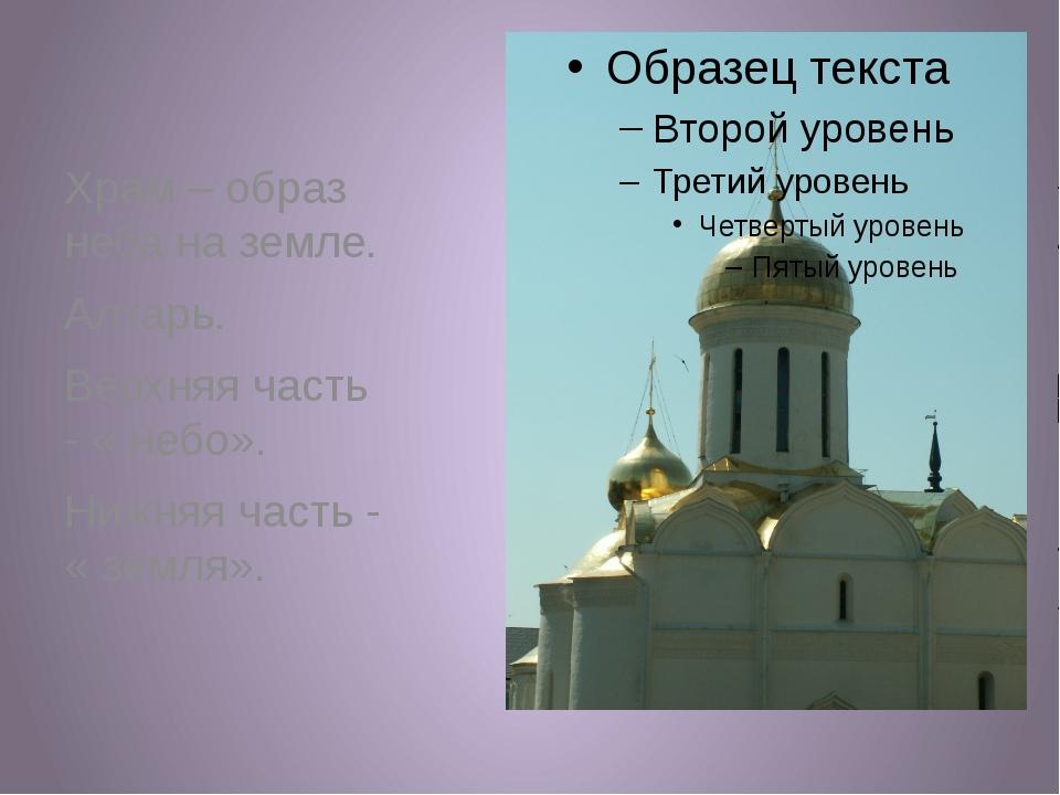 Храм – образ неба на земле. Алтарь. Верхняя часть - « небо». Нижняя часть -...