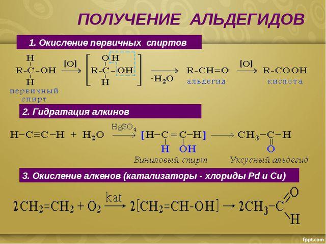 ПОЛУЧЕНИЕ АЛЬДЕГИДОВ 1. Окисление первичных спиртов 2. Гидратация алкинов 3....
